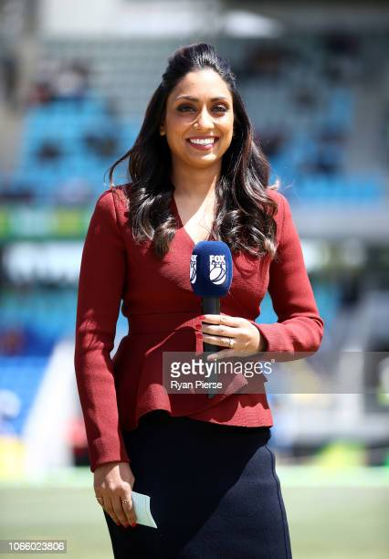 Fox Cricket Commentator Isa Guha looks on during game three of the One Day International series between Australia and South Africa at Blundstone...