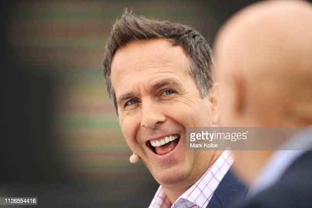Fox Cricket commentator Michael Vaughan laughs as he presents in the prematch before play on day one of the Second Test match between Australia and...