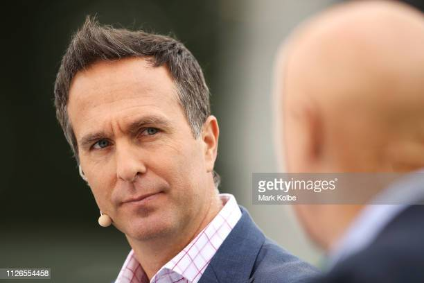 Fox Cricket commentator Michael Vaughan watches on as he presents in the pre-match before play on day one of the Second Test match between Australia...