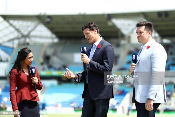 Fox Cricket Commentators Isa Guha Brendon Julian and Brendon Julian look on during game three of the One Day International series between Australia...