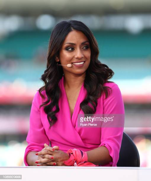 Fox Cricket presenter Isa Guha during day three of the Fourth Test match in the series between Australia and India at Sydney Cricket Ground on...