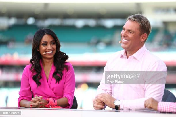 Fox Cricket presenters Isa Guha and Shane Warne during day three of the Fourth Test match in the series between Australia and India at Sydney Cricket...