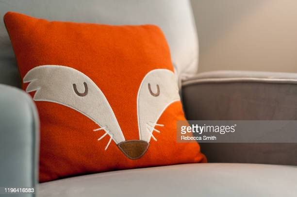 fox decoration pillow - dolly fox stock pictures, royalty-free photos & images
