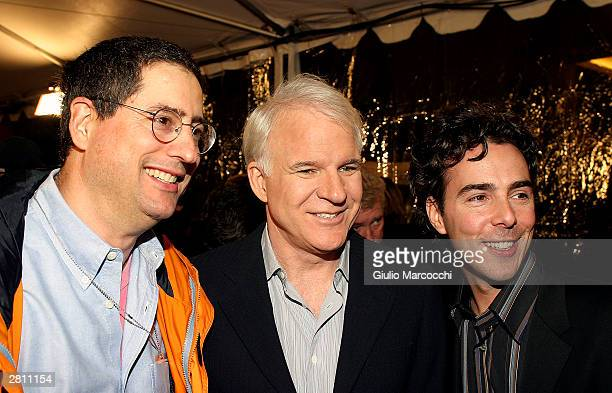 Fox Film Entertainment Chairman Tom Rothman Actor Steve Martin and director Shawn Levy attend the Cheaper By The Dozen Premiere on December 14 2003...