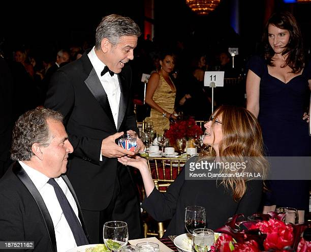 Fox Filmed Entertainment Chairman CEO Jim Gianopulos actors George Clooney Julia Roberts and Rochelle Rose attend the 2013 BAFTA LA Jaguar Britannia...