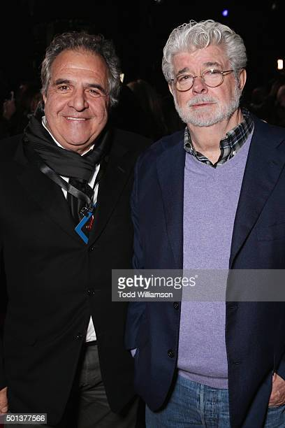 Fox Filmed Entertainment Chairman/CEO Jim Gianopulos and filmmaker George Lucas attend the Premiere of Walt Disney Pictures and Lucasfilm's Star Wars...