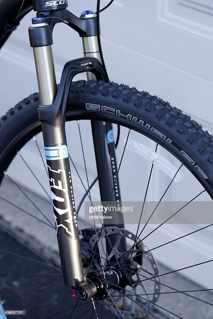 Fox Front Suspension Shocks On Mountain Bike Stock Photo
