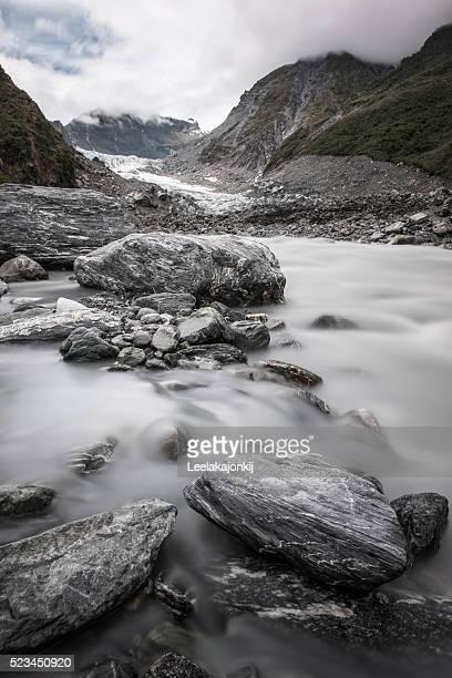 Fox glacier in Westland Tai Poutini National Park on the West Coast of New Zealand's South Island.