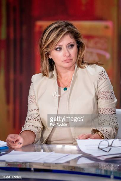 Fox host Maria Bartiromo as Bethenny Frankel visits Fox Business Network at Fox Business Network to discuss Hurricane Florence Studios on September...