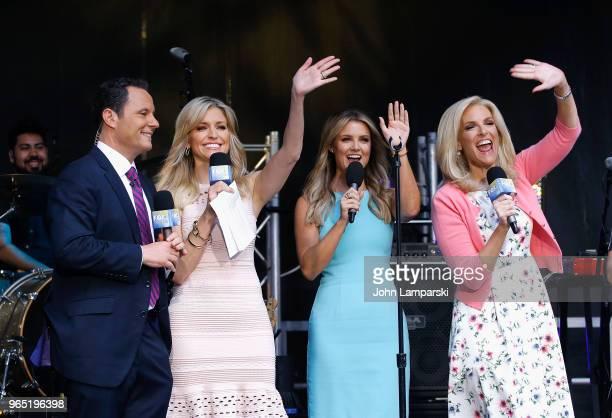 Fox hosts Brian Kilmeade Ainsley Earhardt Jillian Mele and Liz Claman attend as Shawna Thompson and Keifer Thompson of Thompson Square perform on Fox...
