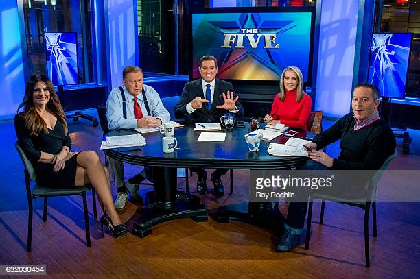 Fox Hosts Kimberly Guilfoyle Bob Beckel Eric Bolling Dana Perino and Greg Gutfeld sit on the panel of Fox News Channel's The Five as pundit Bob...