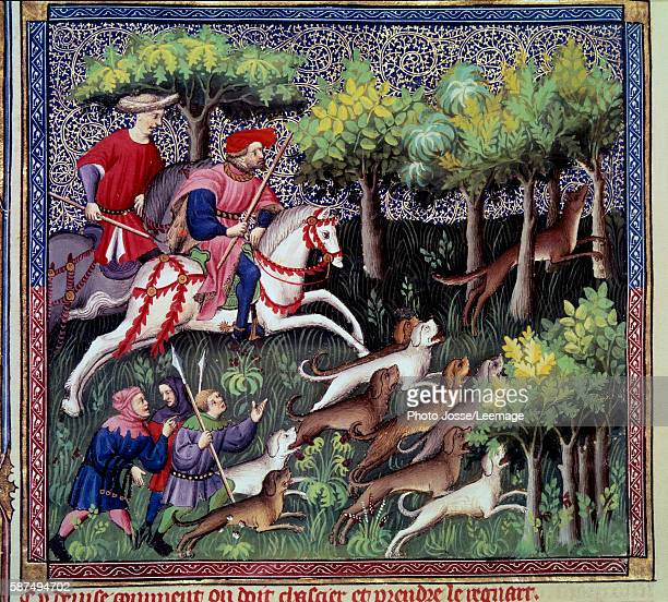 Fox hunting Miniature from The Book of the Hunting by Gaston III Phoebus Count of Foix Lord of Bearn 13871388 Conde Museum Chantilly France