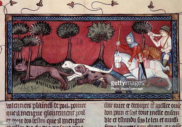 Fox hunting Miniature from the manuscript fr 1297 Book of King Modus and Queen Ratio by Henri de Ferrieres 1379 BN Paris France