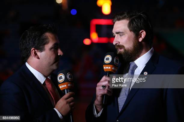 Fox NBL commentators Adam Papalia and Brad Robbins talk before the round 19 NBL match between the Perth Wildcats and the Sydney Kings at Perth Arena...