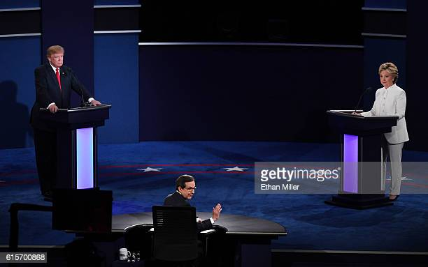 Fox News anchor and moderator Chris Wallace speaks to the audience as Republican presidential nominee Donald Trump and Democratic presidential...