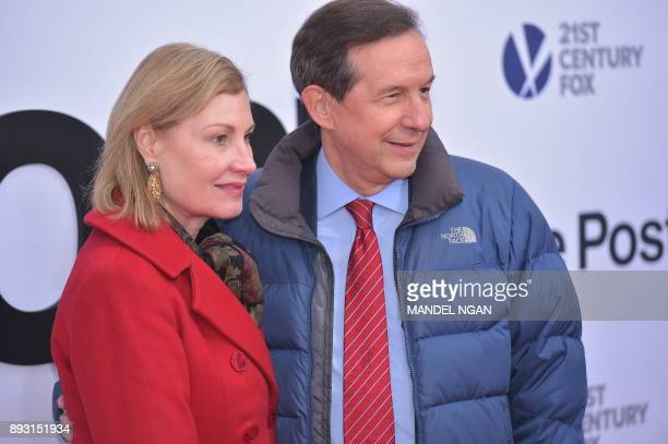 Fox News Anchor Chris Wallace and his wife Lorraine Martin Smothers arrive for the premiere of The Post on December 14 in Washington DC / AFP PHOTO /...