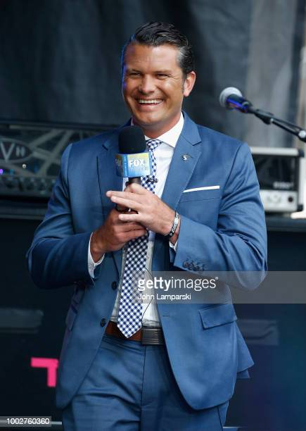 Fox News anchor Pete Hegseth stands on stage before Dee Snider performs on FOX Friends on July 20 2018 in New York City
