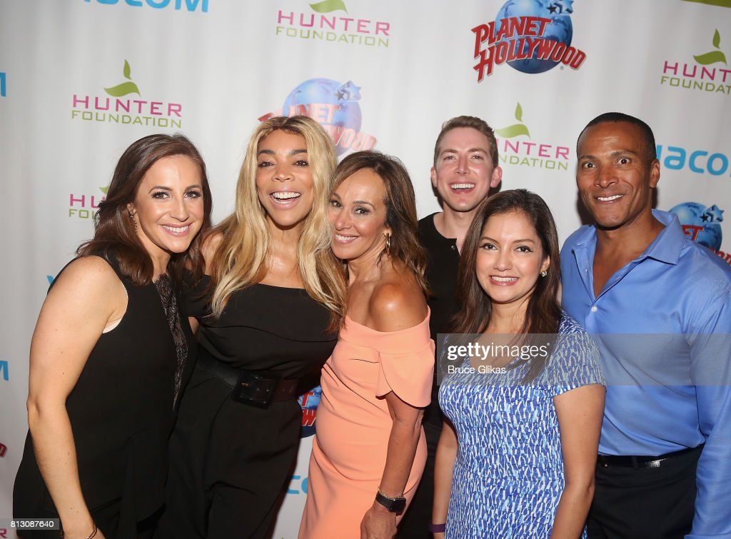 Fox News Anchor Teresa Priolo, Talk Show Host Wendy Williams, Fox News Anchor Rosanna Scotto, Fox News Columist Baruch Shemtov, Fox News Anchor Ines Rosales and Fox News Anchor Mike Wood pose at a celebration for Wendy Williams Hunter Foundation Charity that helps fund programs for families and youth communities in need of help and guidance at Planet Hollywood Times Square on July 11, 2017 in New York City.