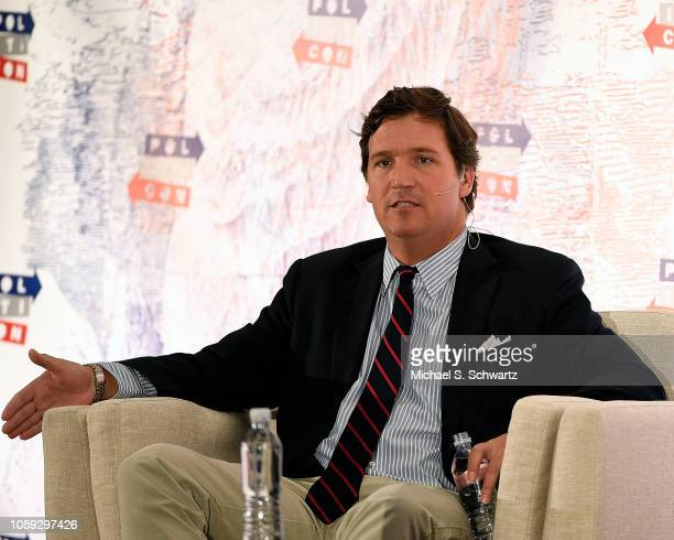 Fox News anchor Tucker Carlson speaks during Politicon 2018 at Los Angeles Convention Center on October 21, 2018 in Los Angeles, California.