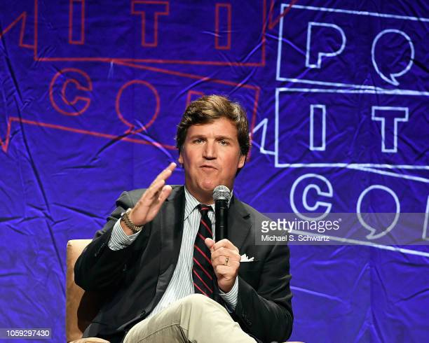 Fox News anchor Tucker Carlson speaks during Politicon 2018 at Los Angeles Convention Center on October 21 2018 in Los Angeles California