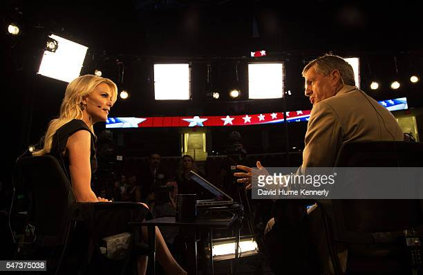 Fox News broadcasters Megyn Kelly and Brit Hume discuss the first Republican Party presidential debate in Cleveland Ohio August 6 2015