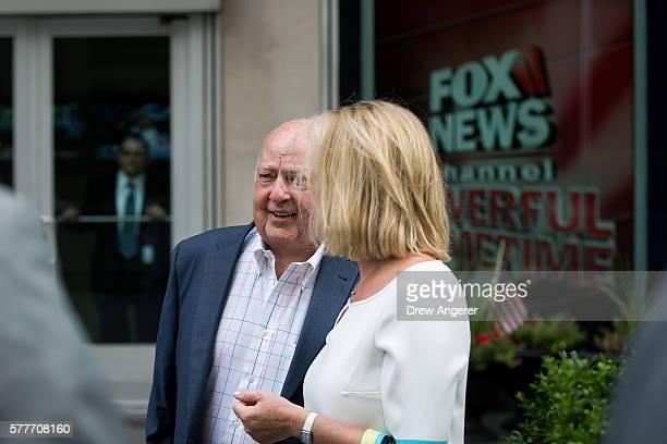 Fox News chairman Roger Ailes walks with his wife Elizabeth Tilson as they leave the News Corp building on July 19 2016 in New York City As of late...