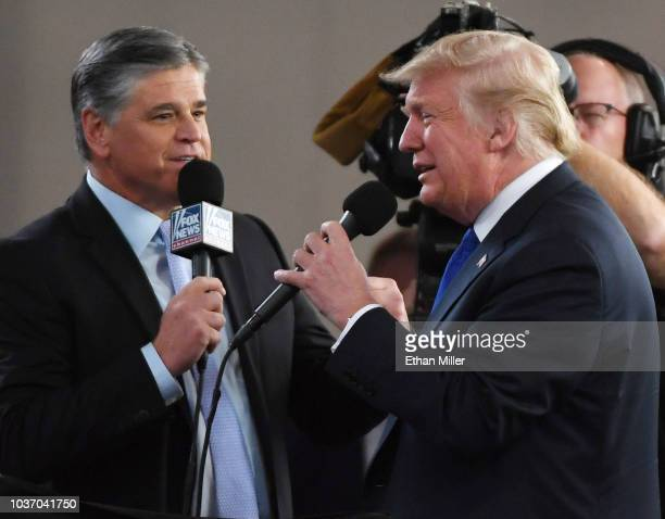 Fox News Channel and radio talk show host Sean Hannity interviews US President Donald Trump before a campaign rally at the Las Vegas Convention...