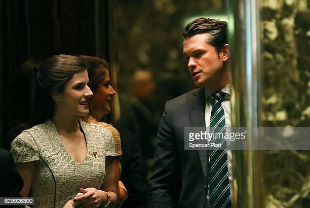 Fox News contributor Pete Hegseth arrives at Trump Tower on December 15 2016 in New York City PresidentElect Donald Trump continues to hold meetings...