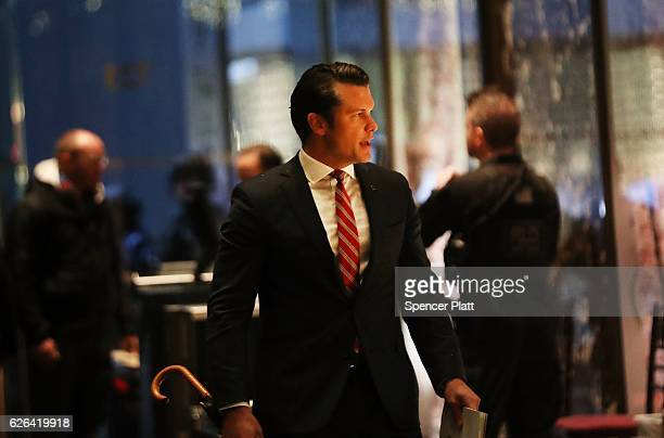 Fox News contributor Pete Hegseth arrives at Trump Tower on November 29 2016 in New York City Presidentelect Donald Trump and his transition team are...