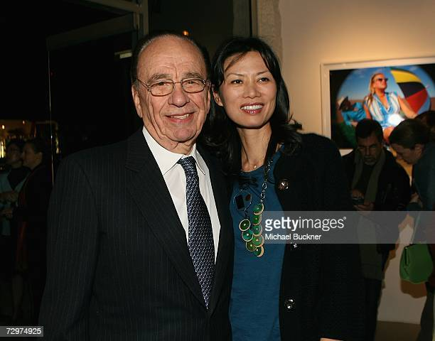 Fox News Corporation founder Rupert Murdoch and his wife Wendi attend the G'Day USA Australia Exposed exhibit at the Gallery Saint Germain on January...