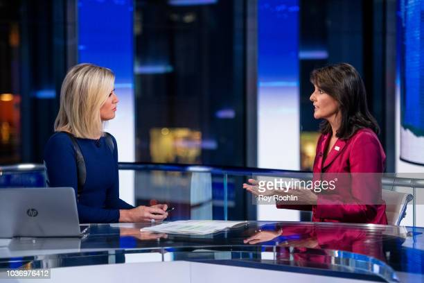 Fox News host Martha MacCallum with United States Ambassador to the United Nations Nikki Haley as she visits The Story With Martha MacCallum prior to...