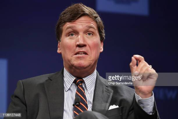 Fox News host Tucker Carlson discusses 'Populism and the Right' during the National Review Institute's Ideas Summit at the Mandarin Oriental Hotel...