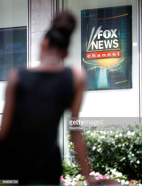 Fox News logo hangs outside the New York headquarters of News Corp Wednesday Aug 8 2007 News Corp the Rupert Murdoch company that is buying Dow Jones...