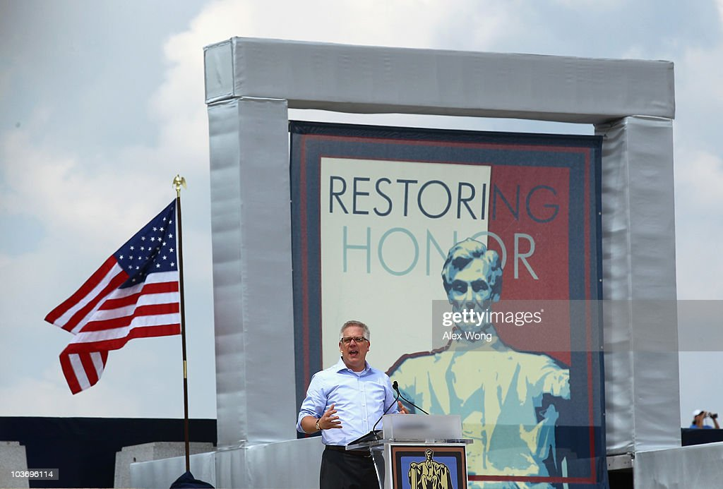 Fox News personality Glenn Beck speaks during the 'Restoring Honor' rally in front of the Lincoln Memorial at the National Mall on August 28, 2010 in Washington, DC. Beck held the rally on the 47th anniversary of the 'I Have a Dream' speech of Dr. Martin Luther King Jr. to 'restore America.'