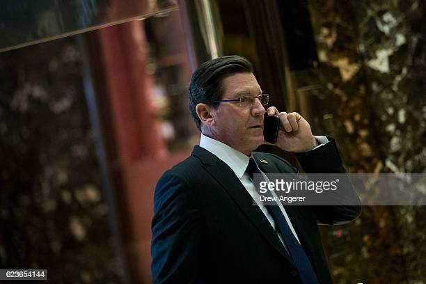 Fox News television personality Eric Bolling arrives at Trump Tower November 16 2016 in New York City Presidentelect Donald Trump and his transition...