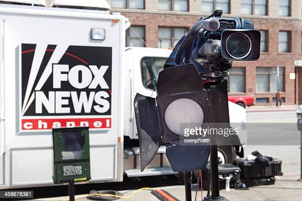 fox news truck and camera on location - fox stock pictures, royalty-free photos & images