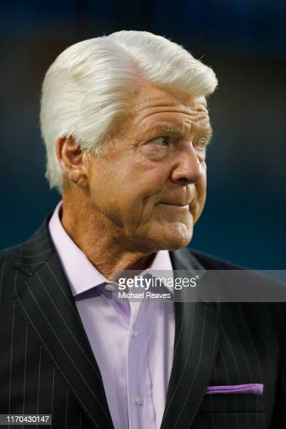 Fox NFL Sunday host Jimmy Johnson looks on during the preseason game between the Miami Dolphins and the Jacksonville Jaguars at Hard Rock Stadium on...