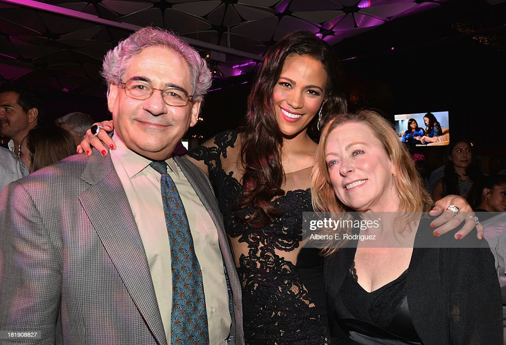 Fox Searchlight co-president Stephen Gilula, actress Paula Patton and Fox Searchlight co-president Nancy Utley attend the after party for the premiere of Fox Searchlight Pictures' 'Baggage Claim' at the Conga Room on September 25, 2013 in Los Angeles, California.