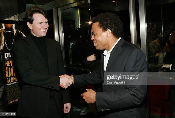 Fox Searchlight President Peter Rice and actor Michael Ealy attend the New York Premiere of Never Die Alone on March 24 2004 at the Clearview Chelsea...