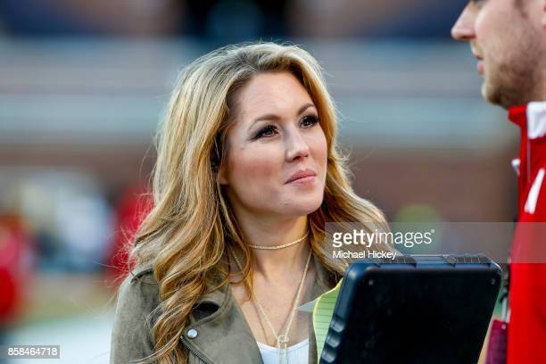 Fox sideline reporter Jennifer Hale is seen before the Illinois Fighting Illini and Nebraska Cornhuskers game at Memorial Stadium on September 29...
