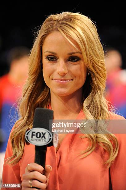 Fox sideline reporter Molly McGrath on the air during a first round game of the Big East basketball tournament between the DePaul Blue Demons and the...