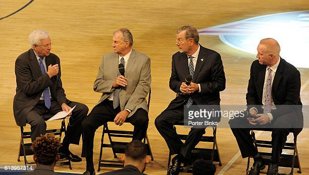 Fox Sports analyst Bill Raftery UConn coach Jim Calhoun former Seton Hall and NBA coach PJ Carlesimo and St John's head coach and former player Chris...