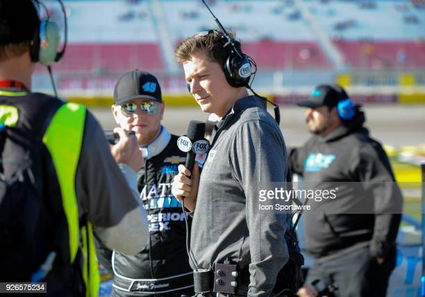 Fox Sports analyst gets set for a interview during the Startosphere 200 qualifying on March 2 2018 at Las Vegas Moter Speedway in Las VegasNV