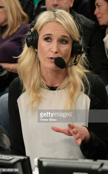 Fox Sports analyst Sarah Kustok before the game between the St John's Red Storm and the Iona Gaels during the MSG Holiday Festival at Madison Square...