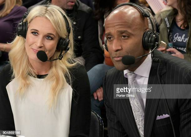 Fox Sports analyst Sarah Kustok left and announcer Brian Custer before the game between the St John's Red Storm and the Iona Gaels during the MSG...