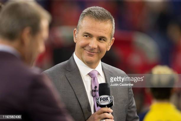 Fox Sports analyst Urban Meyer at the Big Ten Championship game between the Ohio State Buckeyes and Wisconsin Badgers at Lucas Oil Stadium on...