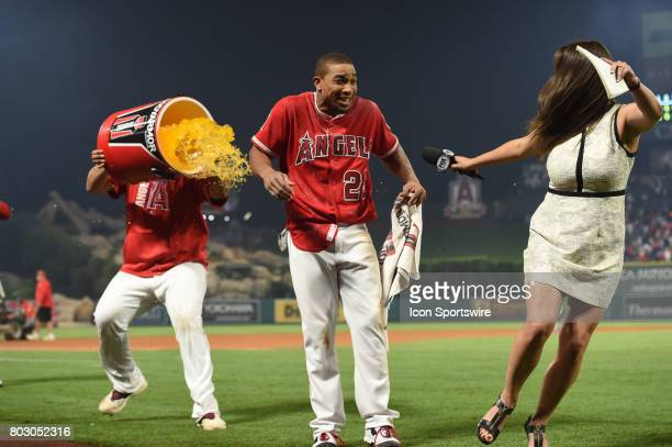 Fox Sports announcer Alex Curry runs away as Los Angeles Angels of Anaheim Outfield Ben Revere gets doused by this team mate after scoring the...