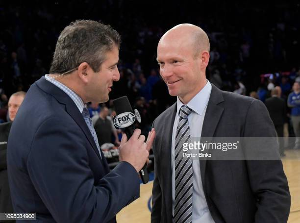 Fox Sports announcer Andy Katz left talks with head coach Kevin Willard of the Seton Hall Pirates after the Pirates overtime victory against the...