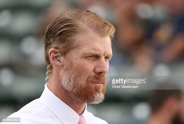 Fox Sports broadcaster Alexei Lalas looks on during warmup prior to the MLS match between FC Dallas and the Los Angeles Galaxy at StubHub Center on...