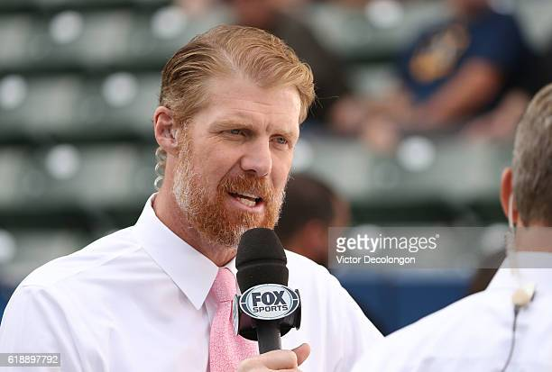 Fox Sports broadcaster Alexei Lalas speaks during warmup prior to the MLS match between FC Dallas and the Los Angeles Galaxy at StubHub Center on...